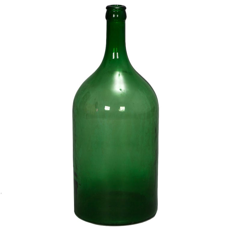 19th Century Large French Green Glass Wine Bottle 1