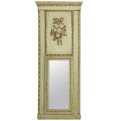 Circa 1930 Italian Green Painted Narrow Trumeau Mirror