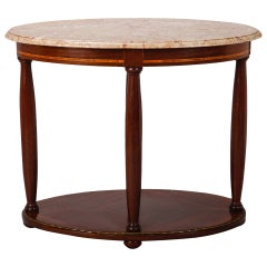 French Directoire, Oval Centre Table with Rouge Marble Top