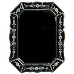 Art Deco Venetian Mirror with Eight-Sided Etched Frame