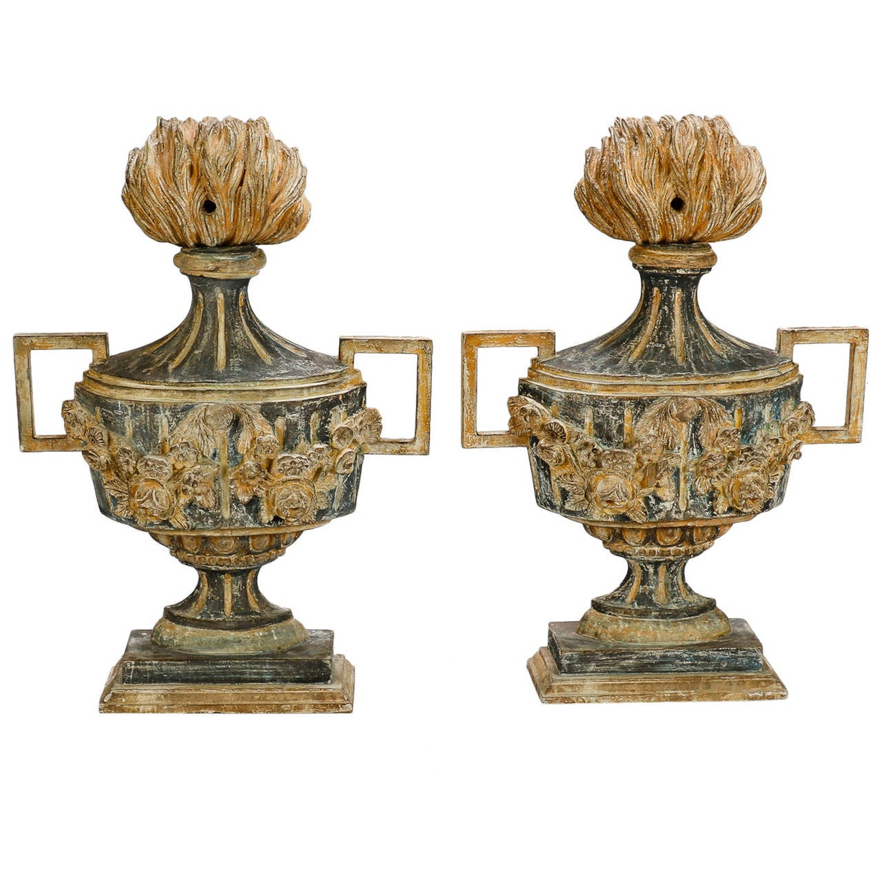 pair of 19th century italian carved wood decorative urns 1 - Decorative Urns