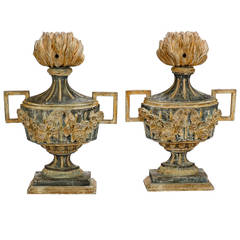 Pair of 19th Century Italian Carved Wood Decorative Urns
