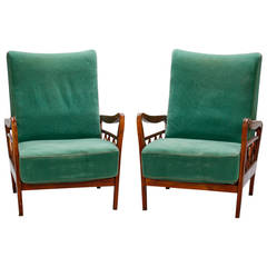 Pair of Open Work Lounge Chairs in the Manner of Paolo Buffa