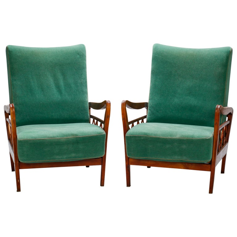 Pair of Open Work Lounge Chairs in the Manner of Paolo Buffa For Sale