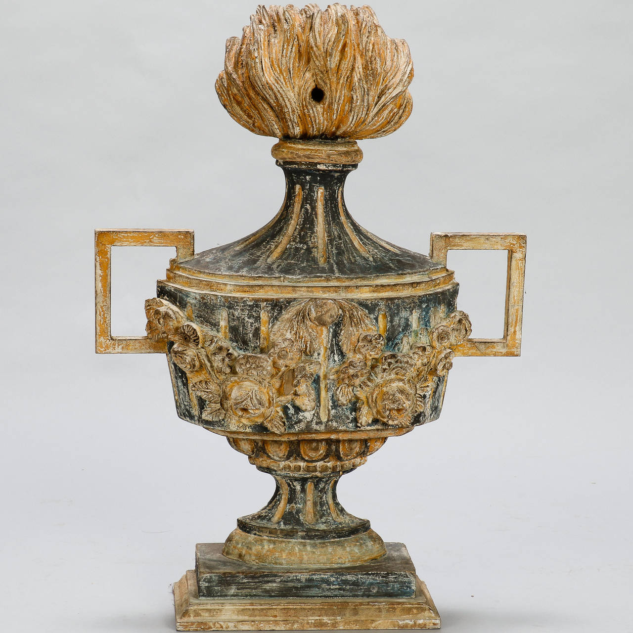 pair of 19th century italian carved wood decorative urns 2 - Decorative Urns