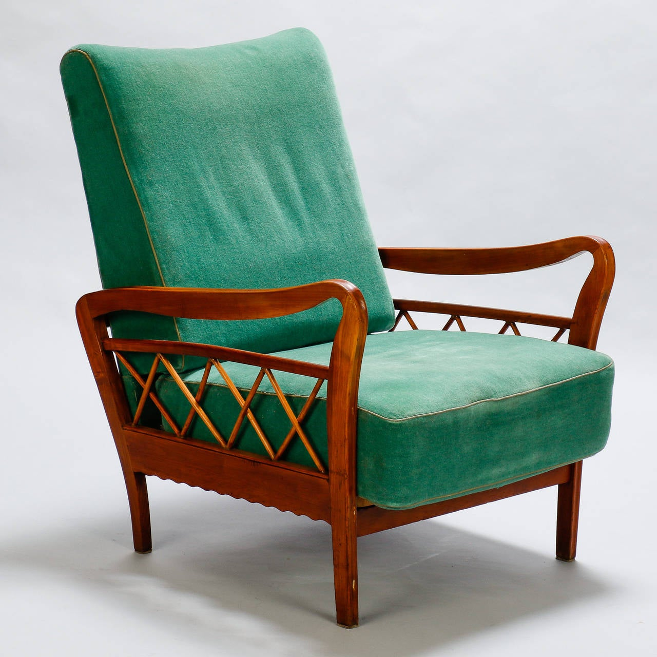 Pair of Open Work Lounge Chairs in the Manner of Paolo Buffa For Sale 1