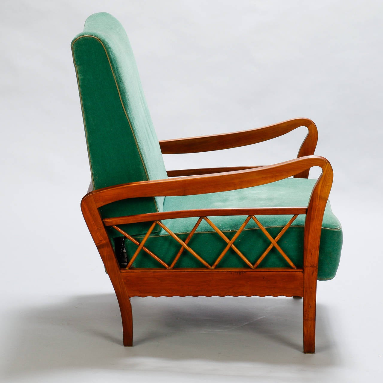Italian Pair of Open Work Lounge Chairs in the Manner of Paolo Buffa For Sale
