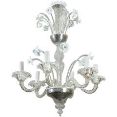 Six-Light Venetian Glass Clear and White Daffodil Chandelier