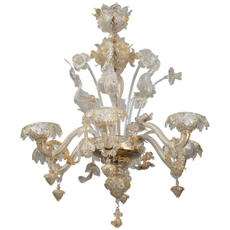 six light gold dust venetian glass daffodil chandelier at. Black Bedroom Furniture Sets. Home Design Ideas