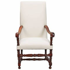 Large 19th Century English Throne-Style Armchair