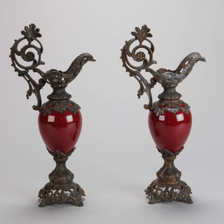 Pair Of Tall Red Ceramic And Bronze Ewers For Sale At 1stdibs