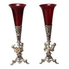 Pair Tall Silver Plate Epergnes with Puti and Red Glass