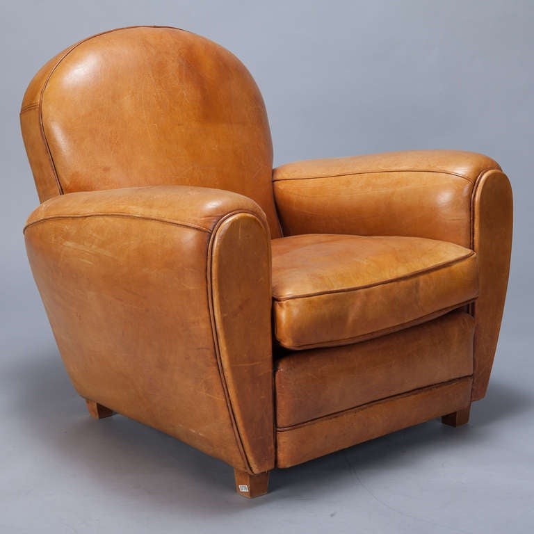 Pair of art deco caramel colored leather club chairs at for Colorful leather dining chairs