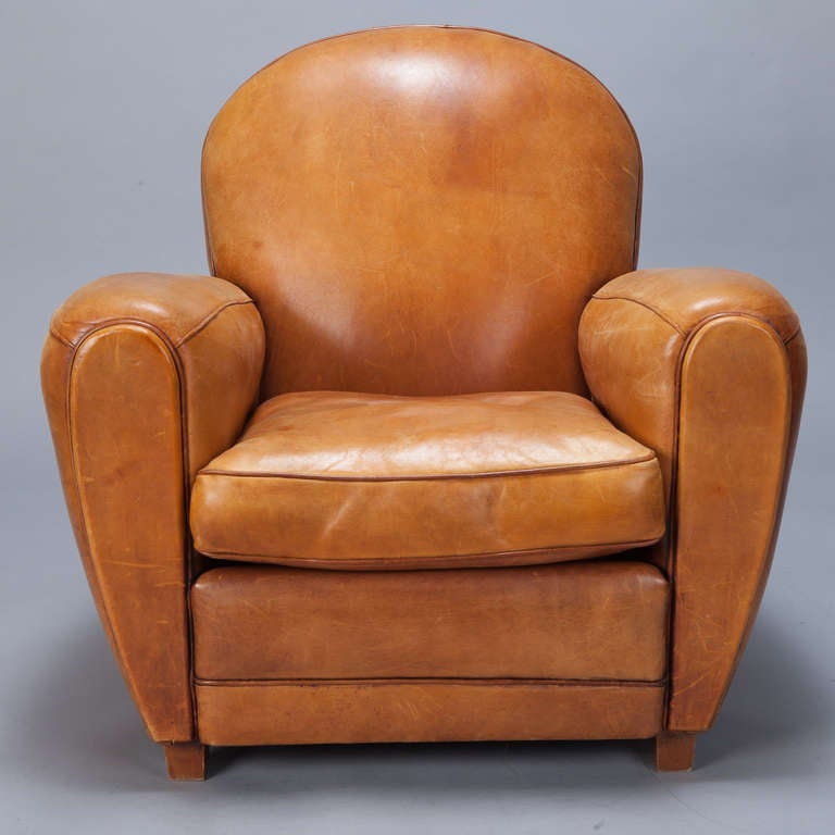 Pair of Art Deco Caramel Colored Leather Club Chairs at ...