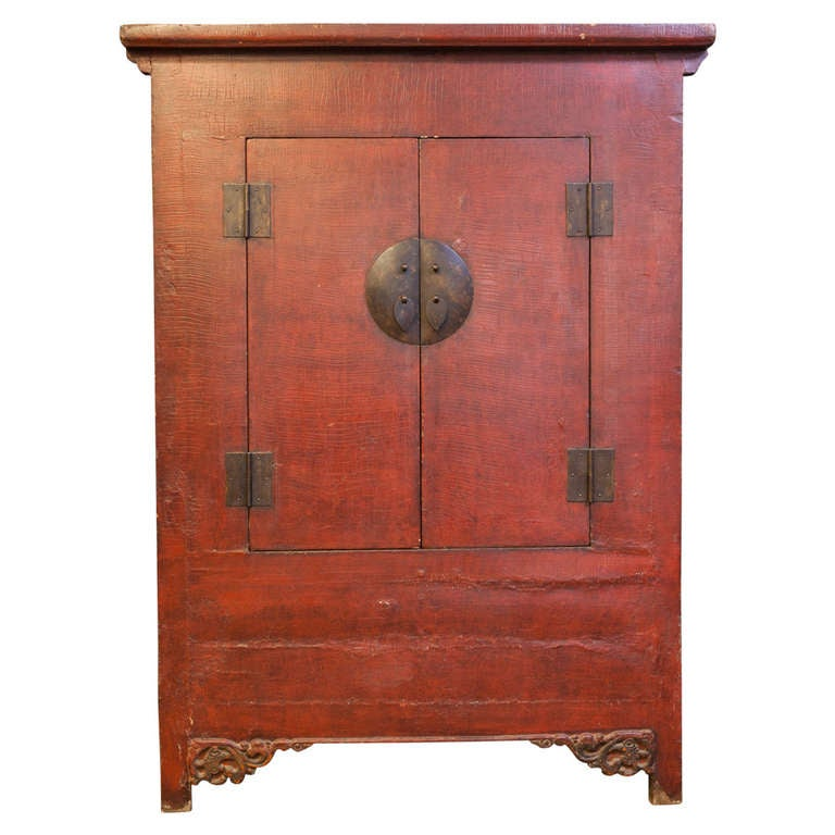 Tall Chinese Red Lacquer Two-Door Cabinet
