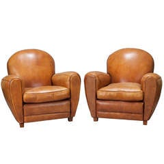 Pair of Art Deco Caramel Colored Leather Club Chairs