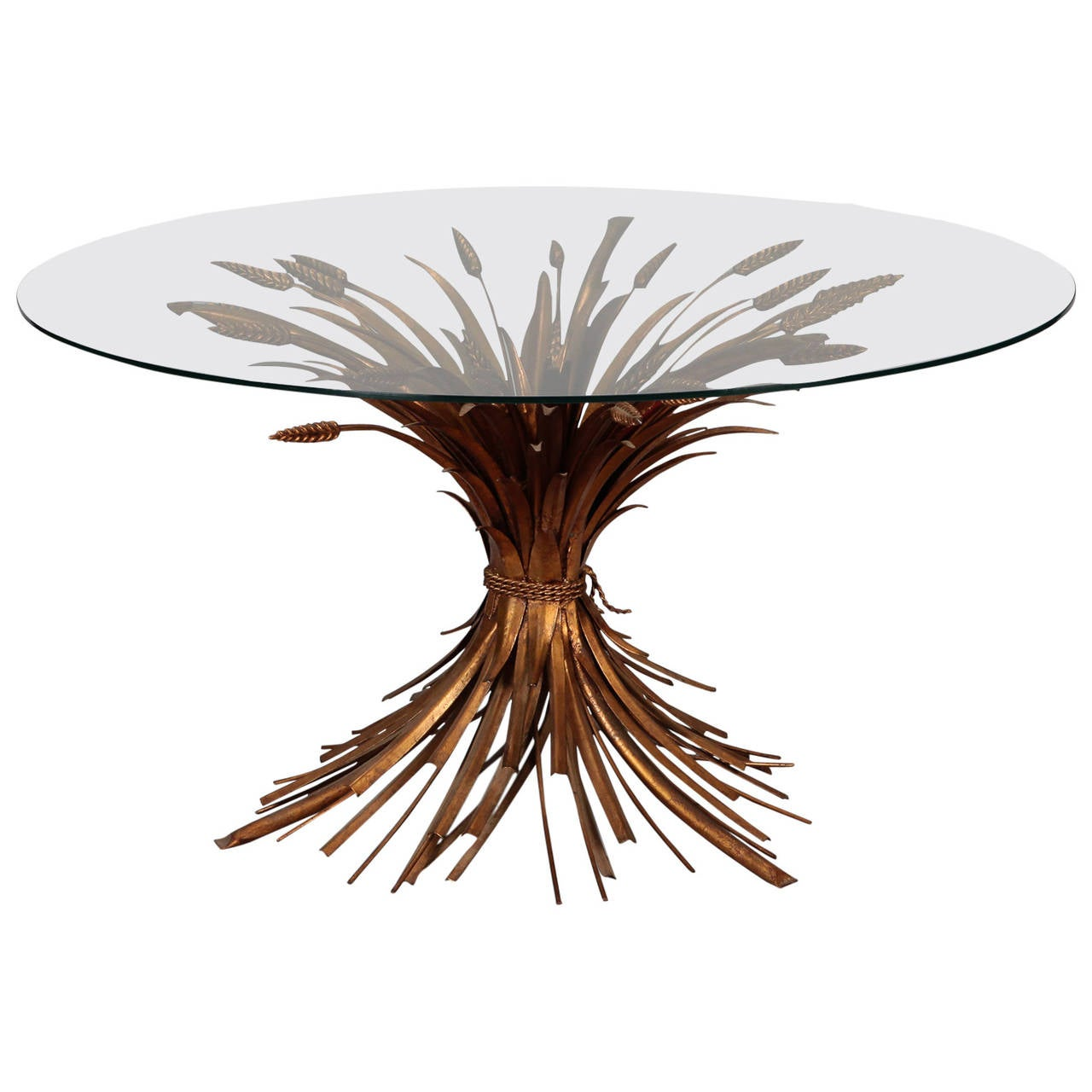mid century gilded metal wheat sheaf table for sale at 1stdibs