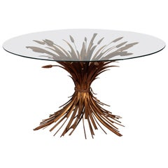 Midcentury Gilded Metal Wheat Sheaf Table