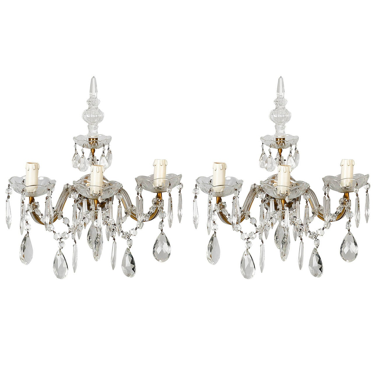 Pair of Maria Theresa Three-Light Sconces with Crystal Finial