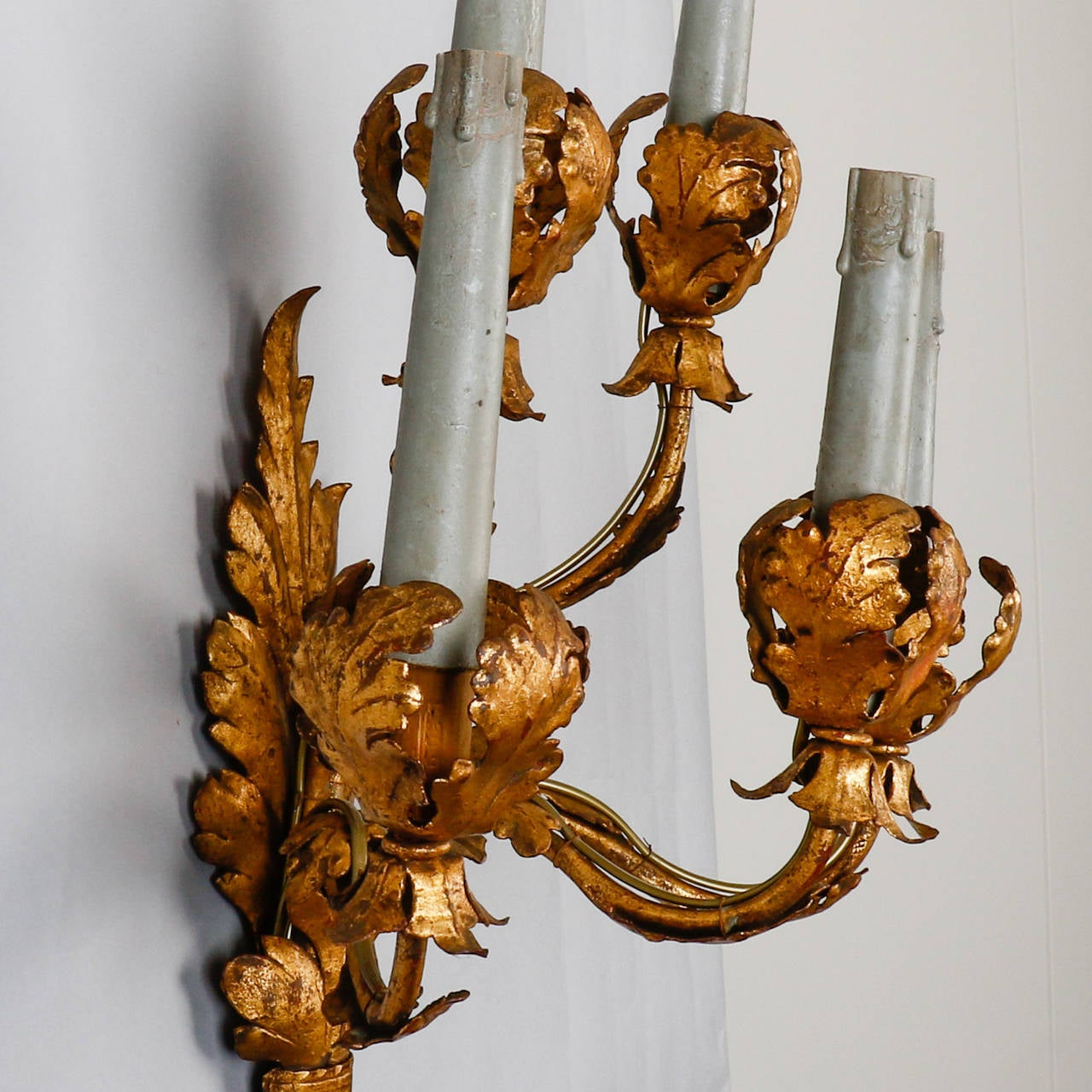 Tall Metal Wall Sconces : Pair of Tall Five-Light Gilt Metal Leaf Form Sconces For Sale at 1stdibs