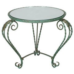 Italian Iron Mirror Top Low Round Table