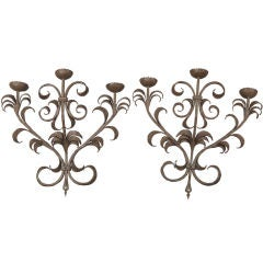 Large Pair French Three Candle Iron Sconces