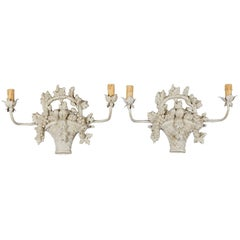 Pair of French Two-Light Carved Fruit Basket Sconces