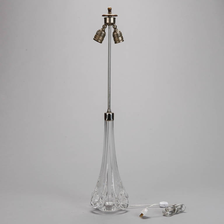 this midcentury tall clear glass val saint lambert table lamp is no. Black Bedroom Furniture Sets. Home Design Ideas