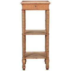 Small Narrow Bleached Oak Two-Tier Etagere with Drawer