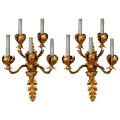 Pair of Tall Five-Light Gilt Metal Leaf Form Sconces