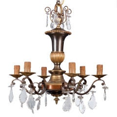 Italian Six Light Metal Chandelier with Black Accents and Crystal