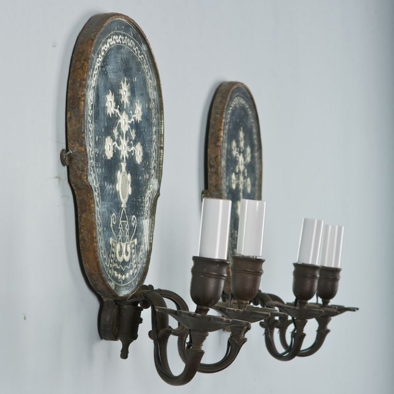 Dark Bronze Wall Sconces : Pair of Two Light Dark Bronze Mirrored Sconces at 1stdibs
