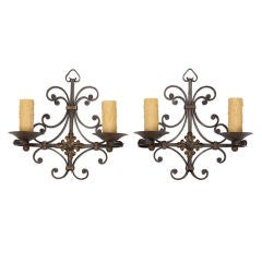 Pair of Iron Sconces with Fancy Back Plate