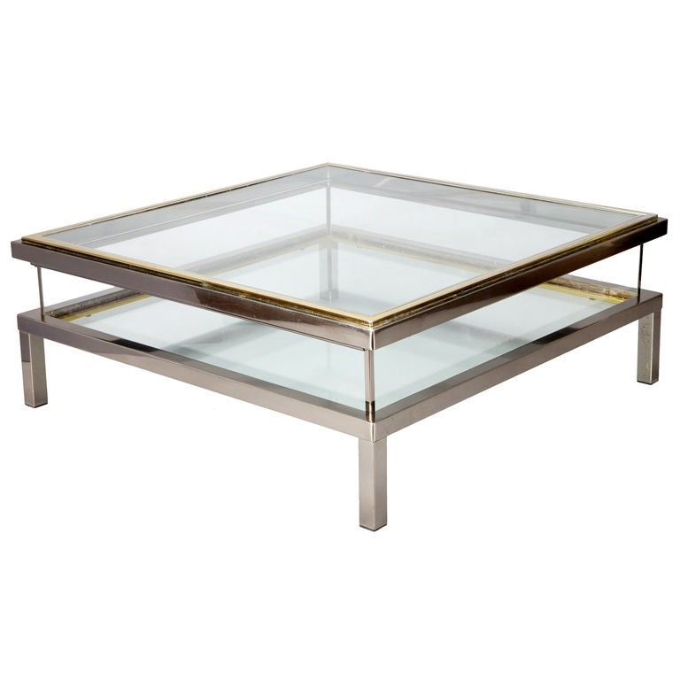 Large Italian Glass Brass And Chrome Cocktail Table At 1stdibs