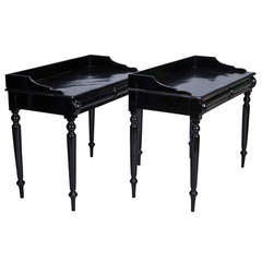 Narrow Demilune Console Tables 19th Century Near Pair Ebonised English Console Tables