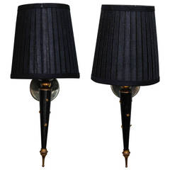 Pair of Neoclassical Black Enamel and Brass Single Arm Sconces