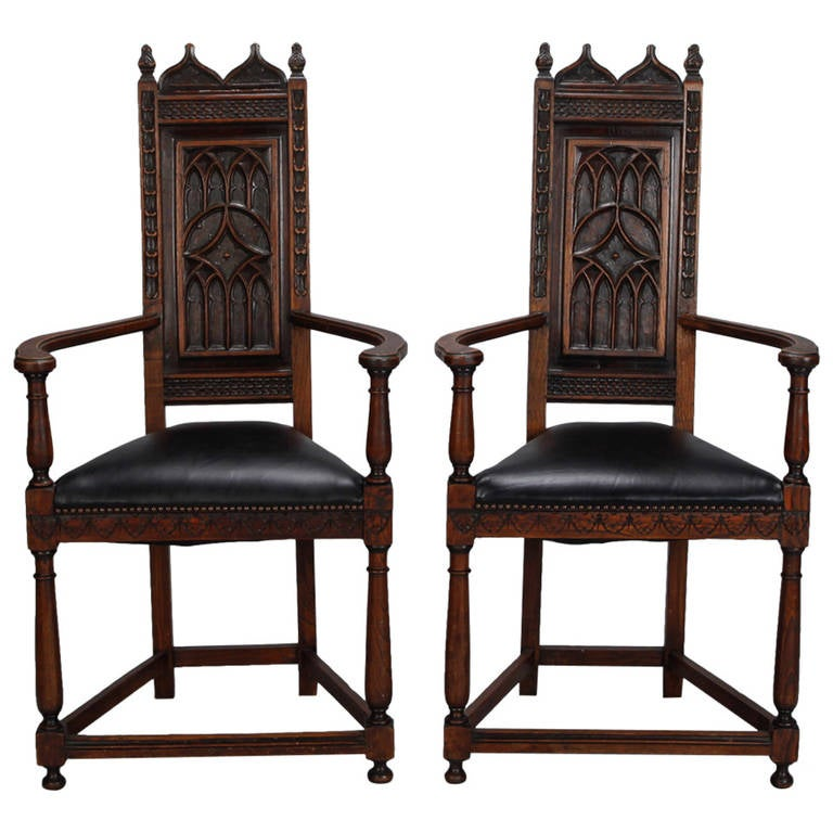 Pair of French Gothic Style Oak Hall Chairs 1