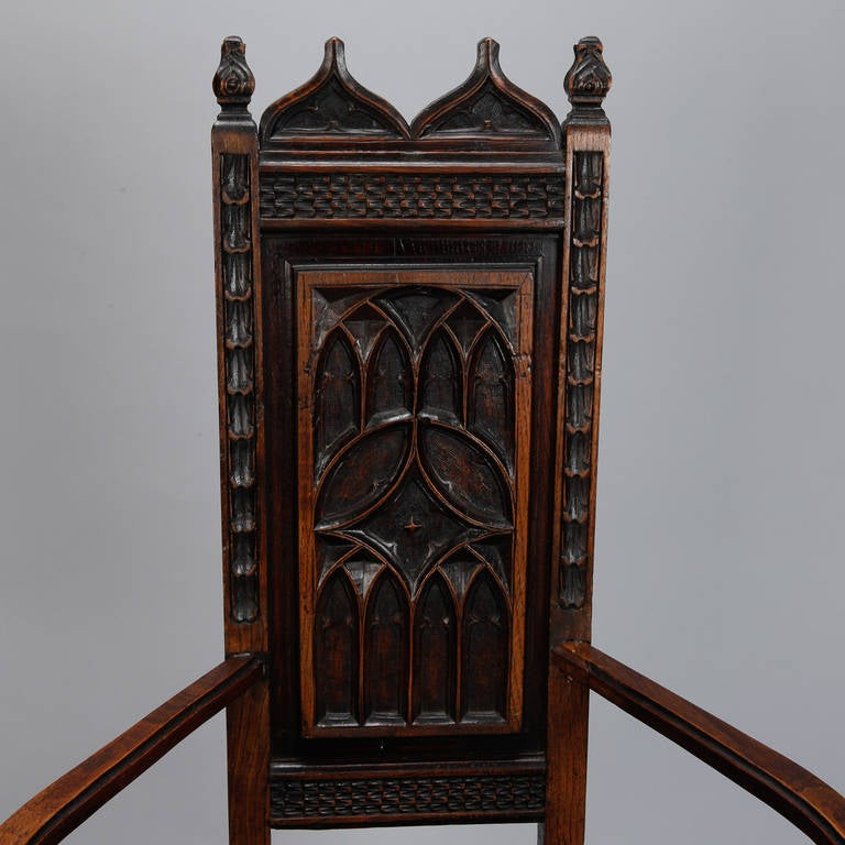 Pair of French Gothic Style Oak Hall Chairs For Sale 3