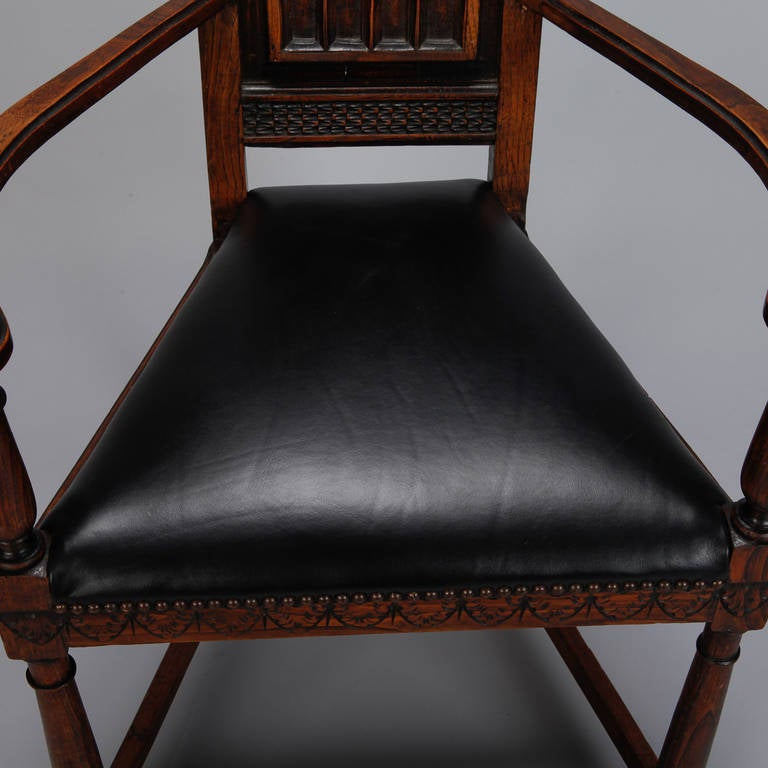 Pair of French Gothic Style Oak Hall Chairs For Sale 4