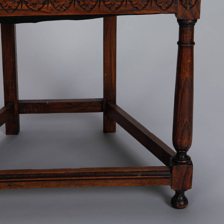 Pair of French Gothic Style Oak Hall Chairs For Sale 5