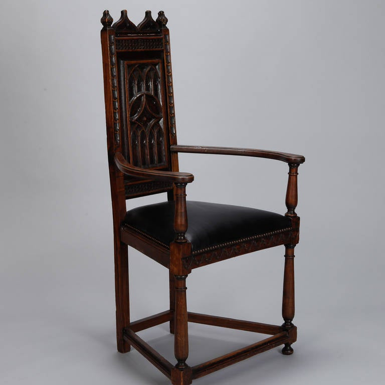 Pair of French Gothic Style Oak Hall Chairs 4