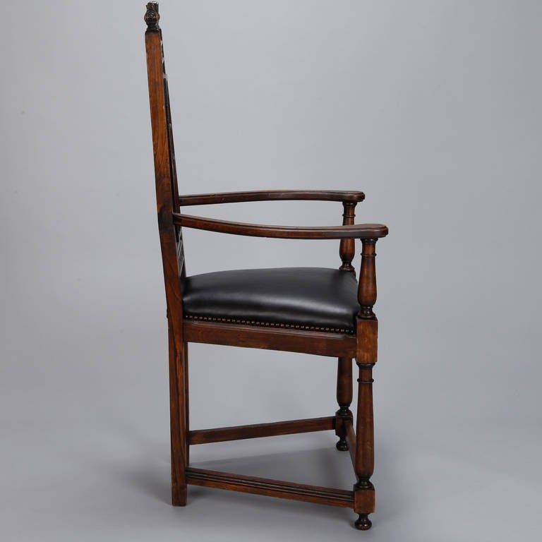 Leather Pair of French Gothic Style Oak Hall Chairs For Sale