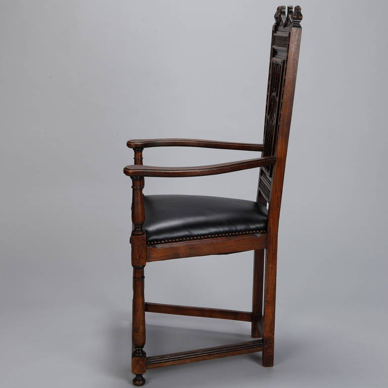 Pair of French Gothic Style Oak Hall Chairs For Sale 1