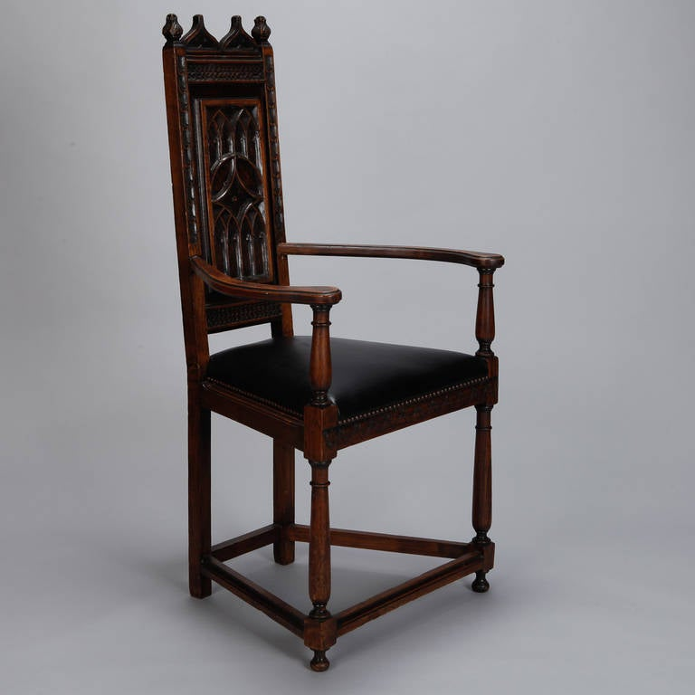 Pair of French Gothic Style Oak Hall Chairs 7