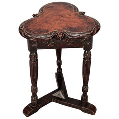 19th Century European Trefoil Carved Side Table