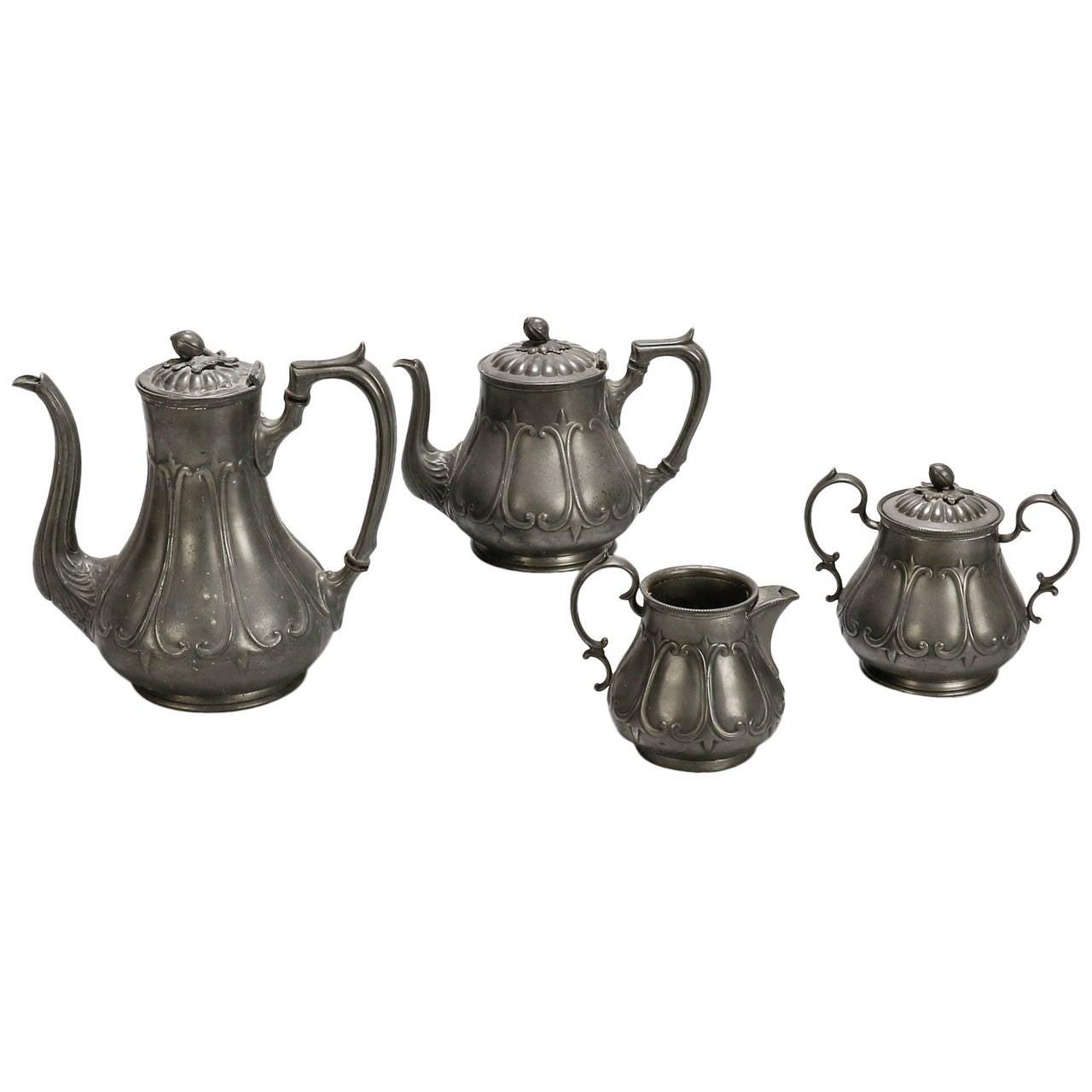 English Pewter Four-Piece Coffee Tea Service 1