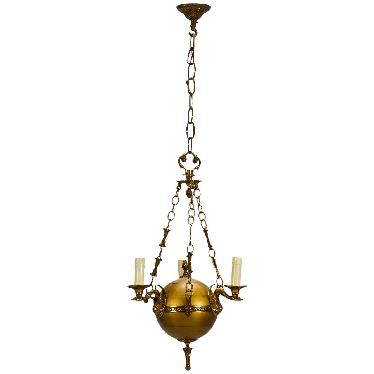 Small Round Neoclassical Three-Light Brass Fixture with Original Chain