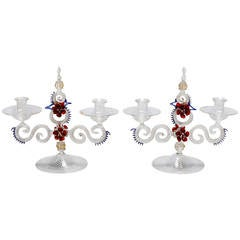 Pair of Two Light Venetian Glass Handblown Candlesticks