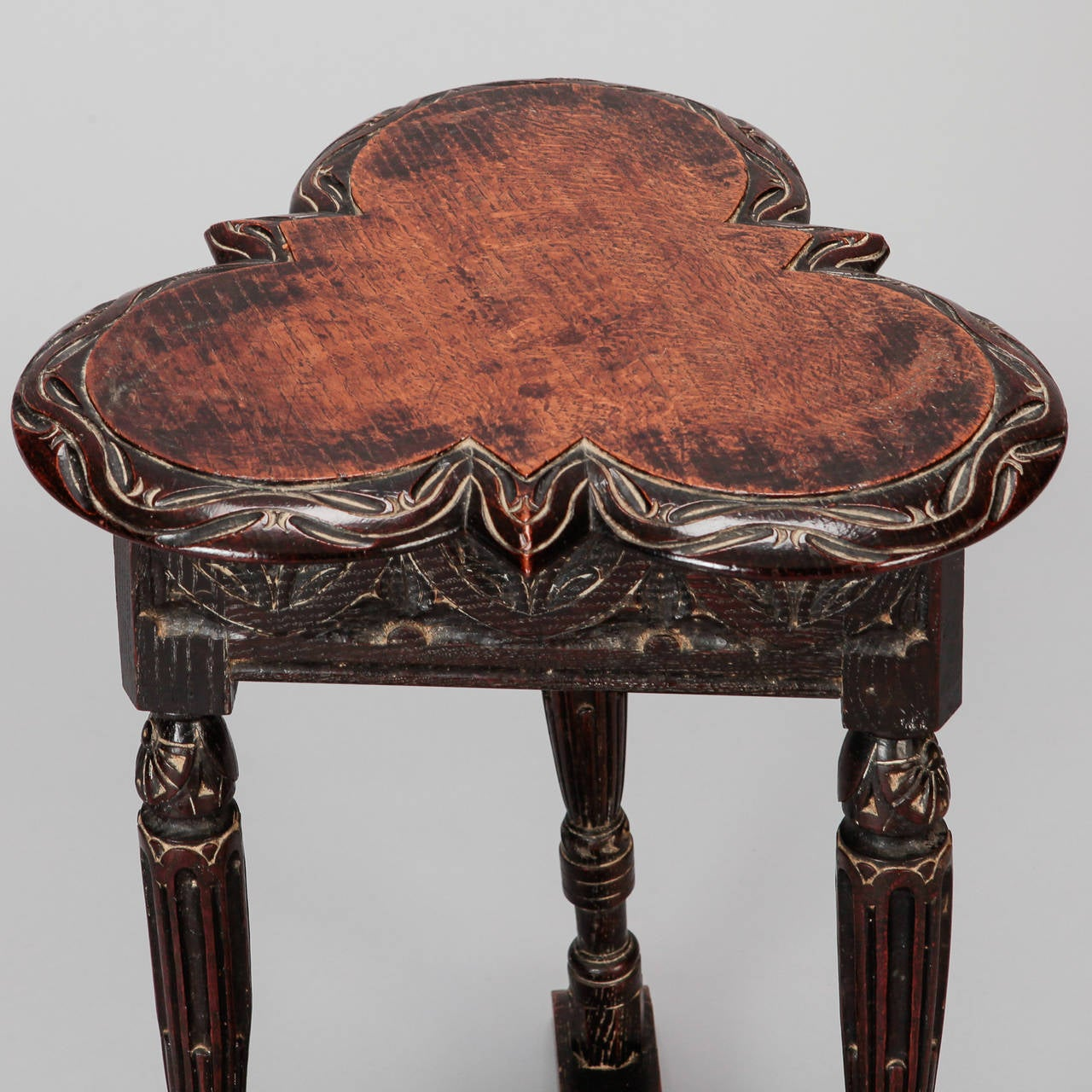 19th Century European Trefoil Carved Side Table 3