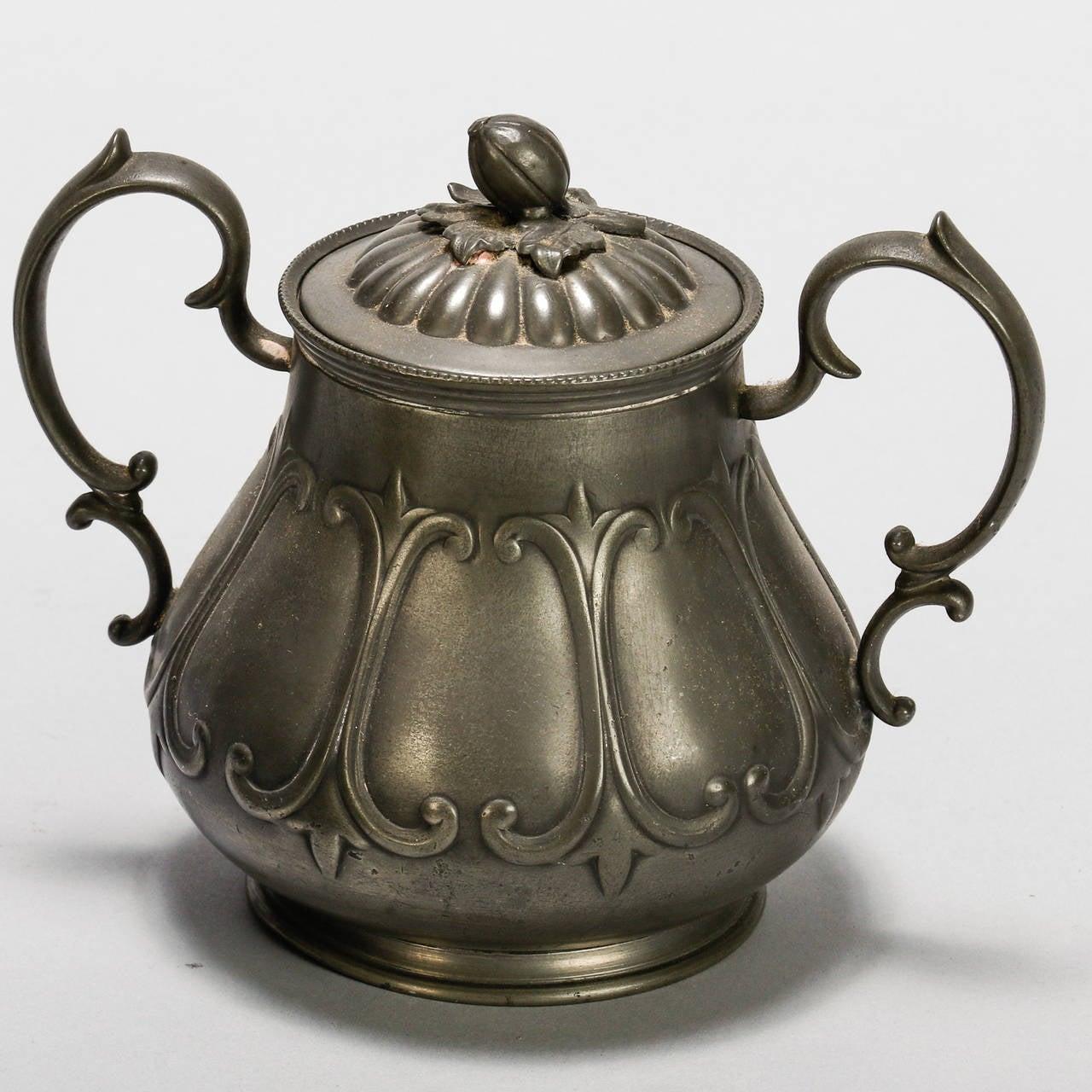 English Pewter Four-Piece Coffee Tea Service 7